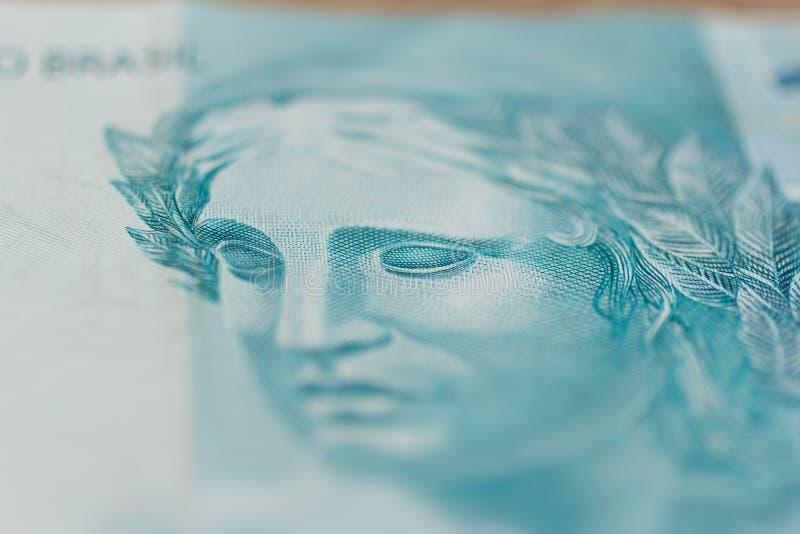Anmärkningar av verklig brasiliansk valuta brazil pengar ståendenolla royaltyfri foto