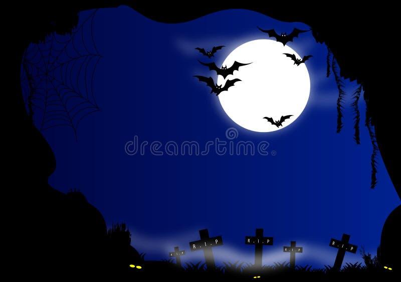 anmärkningar för bakgrundsslagträhalloween månsken stock illustrationer