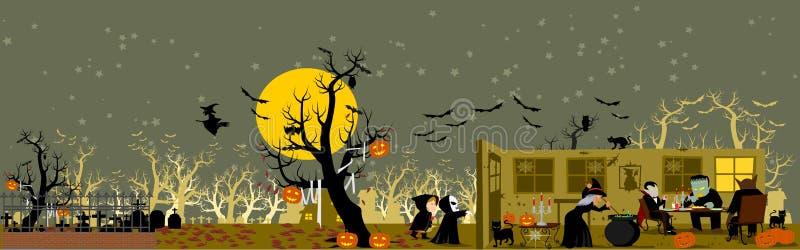 anmärkningar för bakgrundsslagträhalloween månsken royaltyfri illustrationer
