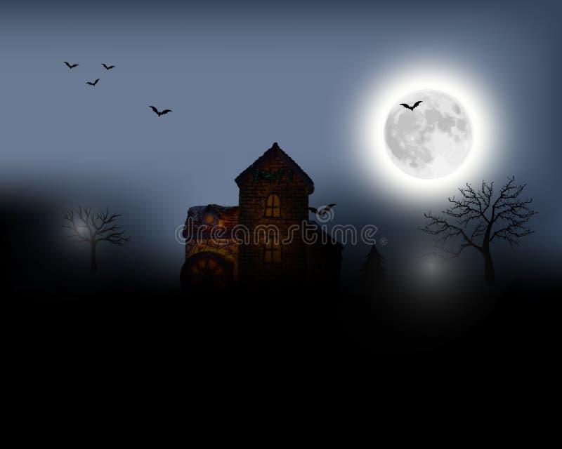 anmärkningar för bakgrundsslagträhalloween månsken Allhelgonaaftonlandskap med fullmånen Mystisk illustration royaltyfria bilder
