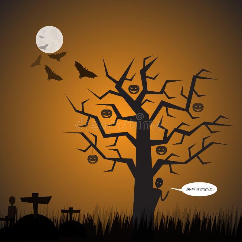 anmärkningar för bakgrundsslagträhalloween månsken Kyrkogårdbakgrund Vektor Halloween royaltyfri illustrationer