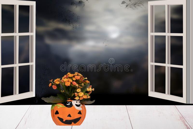 anmärkningar för bakgrundsslagträhalloween månsken Ljus tabell med blommor i en gul porc royaltyfria bilder