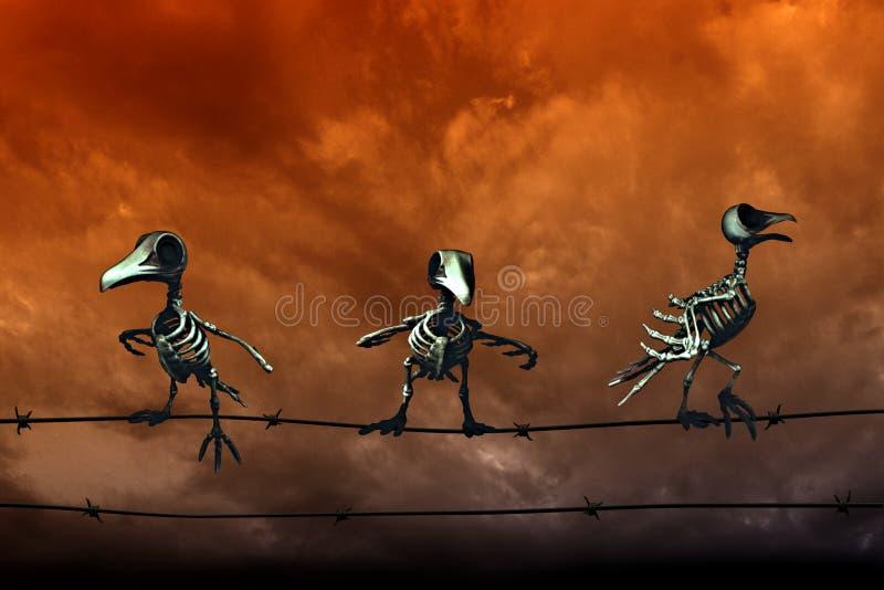 anmärkningar för bakgrundsslagträhalloween månsken Skelett- fåglar Orange himmelbakgrund royaltyfria foton