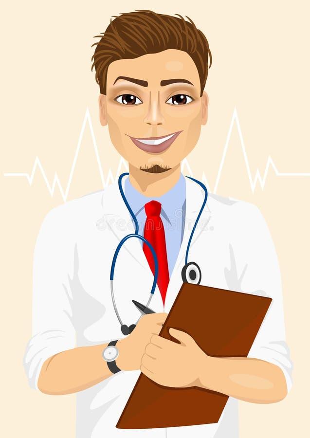 Anmärkningar för patient för säker manlig doktor för stående medicinska yrkesmässiga tagande royaltyfri illustrationer