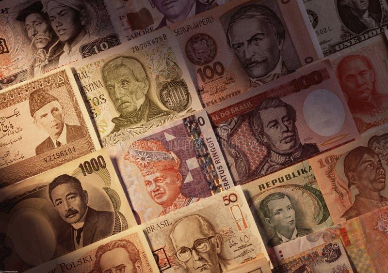 Anmärkningar för utländska valutor royaltyfri foto