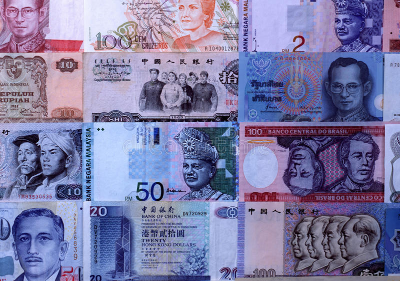 Anmärkningar för utländska valutor arkivfoton