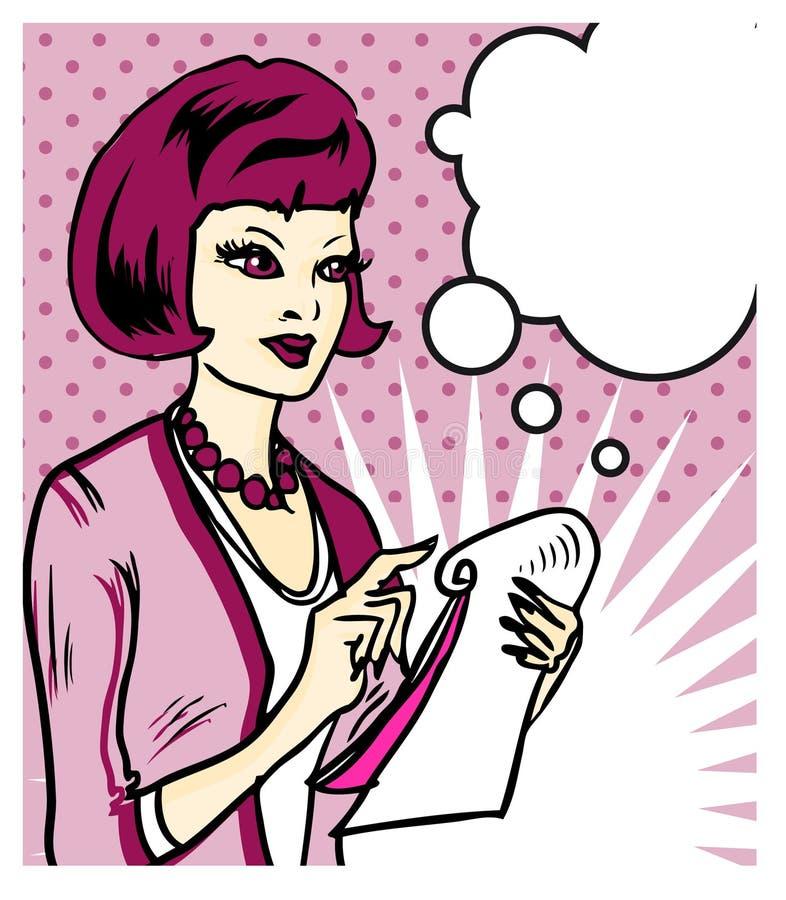 anmärkningar som tar kvinnan stock illustrationer
