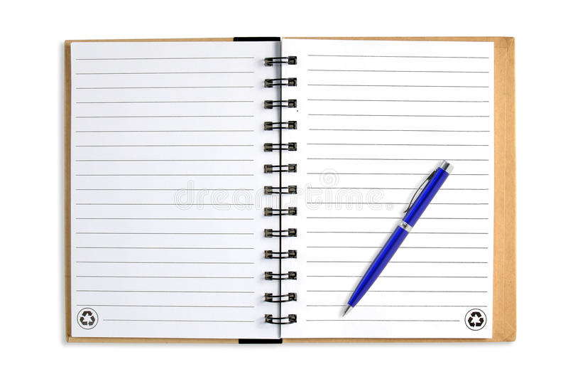 Anmärkningsbok med blåttpennan som isoleras arkivfoto