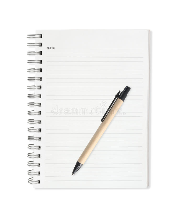 Anmärkningsbok med pennan som isoleras på vit bakgrund royaltyfri fotografi