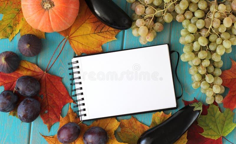 Anmärkningsbok och sammansättning av grönsaker på det blåa träskrivbordet fotografering för bildbyråer