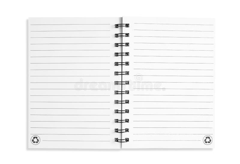 Anmärkningsbok som isoleras på vit arkivfoto