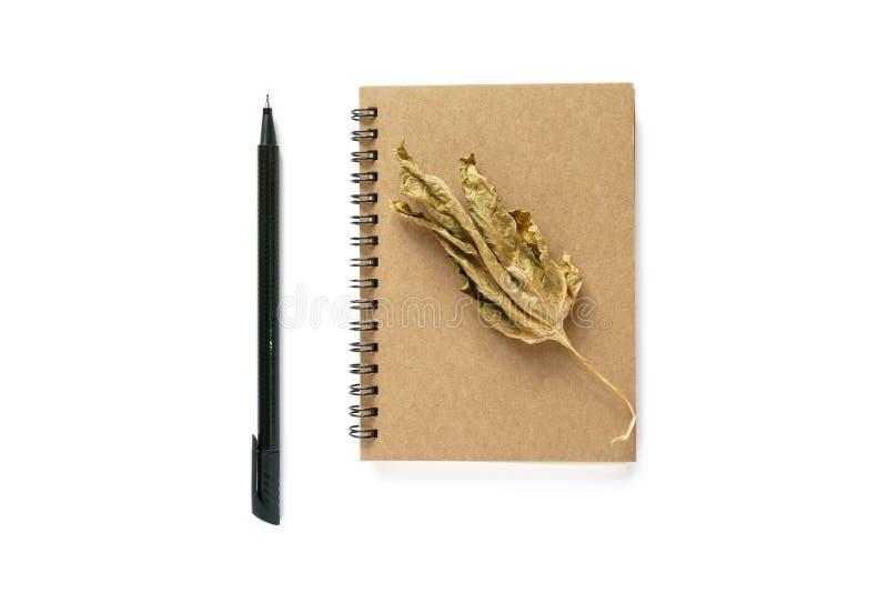 Anmärkningsbok, torrt blad och en penna arkivfoton