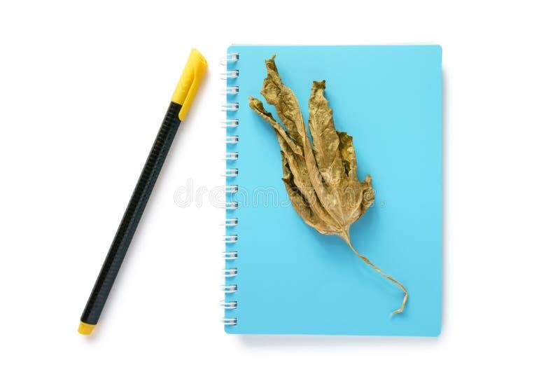 Anmärkningsbok, torrt blad och en penna royaltyfri bild