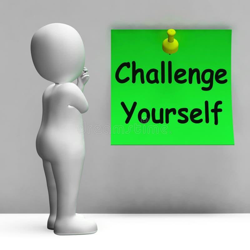 Anmärkningshjälpmedlet för utmaning själv är beslutsamt och motiverat royaltyfri illustrationer