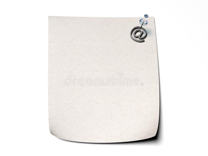 Anmärkningspapper med en stift- och emailsymbol - vit b royaltyfria foton