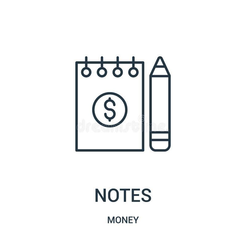 anmärkningssymbolsvektor från pengarsamling Den tunna linjen noterar illustrationen för översiktssymbolsvektorn stock illustrationer