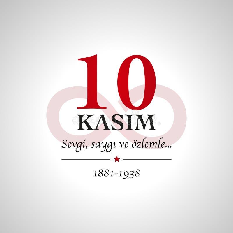 anmagunu för 10 kasim November 10, Mustafa Kemal Ataturk död royaltyfri illustrationer