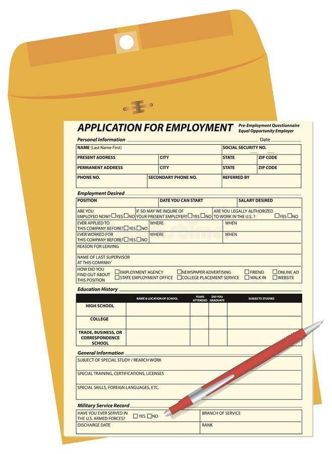 Anmeldeformular- und Postumschlag lizenzfreie abbildung