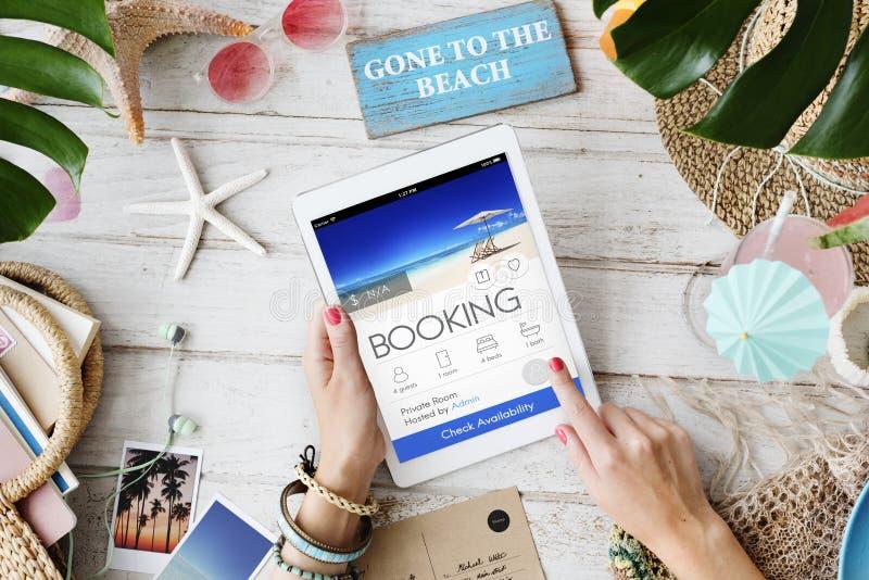 Anmeldungs-Karten-on-line-Reservierungs-Reise-Flug-Konzept lizenzfreies stockbild
