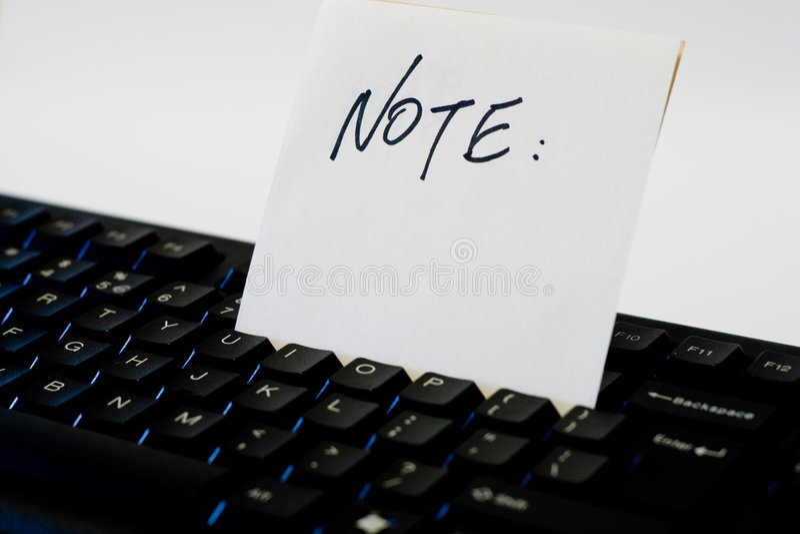 Anmerkung über Tastatur stockfotos