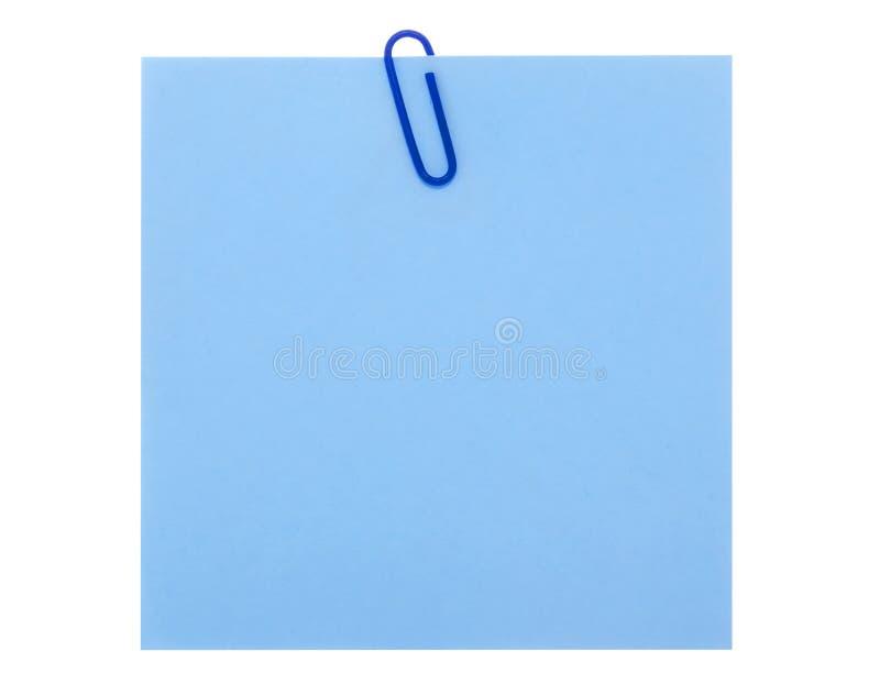 Anmerkung des blauen Papiers mit Klipp lizenzfreie stockbilder
