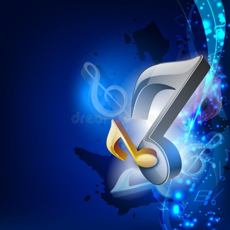 Anmerkungen der Musik 3D über blauen Wellenhintergrund. lizenzfreie abbildung