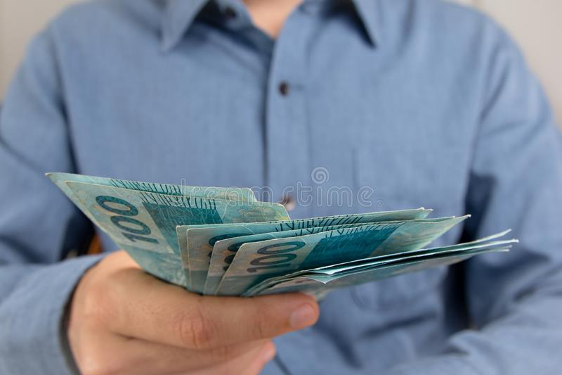 Anmerkungen der wirklichen, brasilianischen Währung Geld von Brasilien stockfotografie