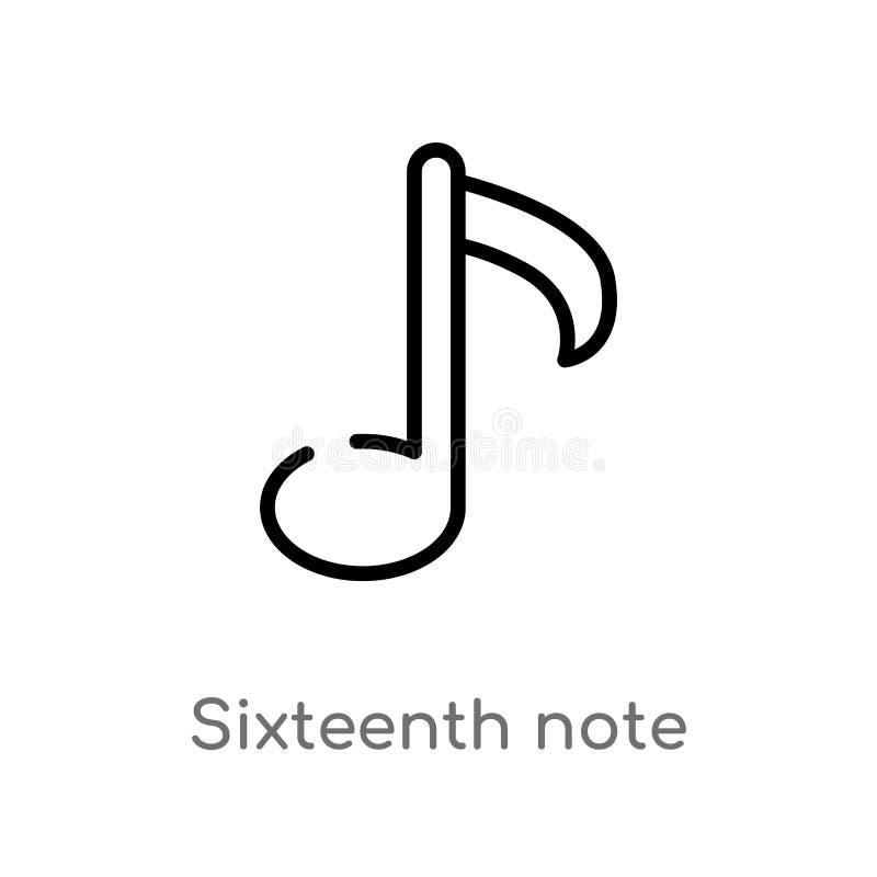 Anmerkungs-Vektorikone des Entwurfs sechzehnte lokalisiertes schwarzes einfaches Linienelementillustration von der Musik und von  lizenzfreie abbildung