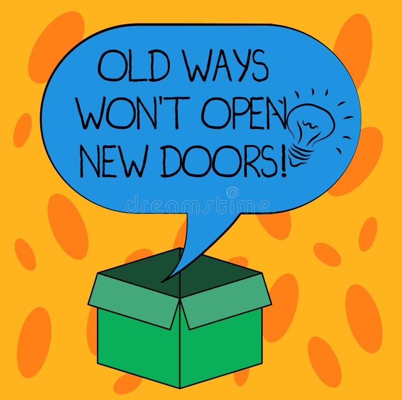 Anmerkungsvertretung alte Weisen schreibend, gewann offene neue Türen T Geschäftsfoto Präsentationsänderungsweise tun Sie Sachen, lizenzfreie abbildung