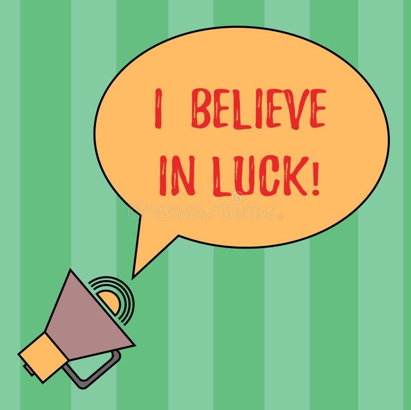 Anmerkungsvertretung, glaube mich schreibend an Glück Geschäftsfoto, das zur Schau stellt, um Glauben beim Glücksbringer Aberglau stock abbildung