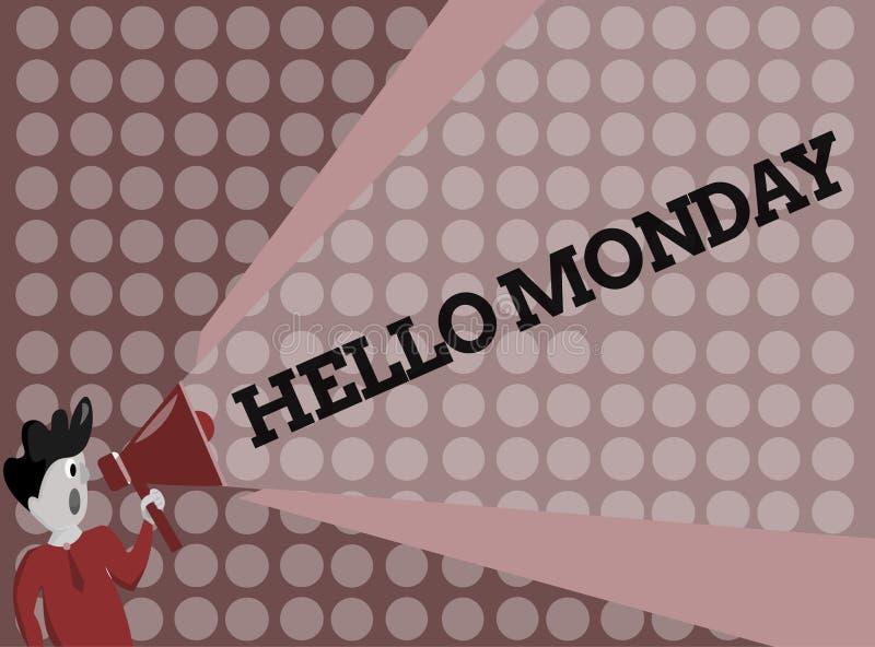 Anmerkungsvertretung hallo Montag schreiben Geschäftsfoto Präsentationsgrüßende positive Mitteilung für ein neues Tagwochen-Begin lizenzfreie abbildung