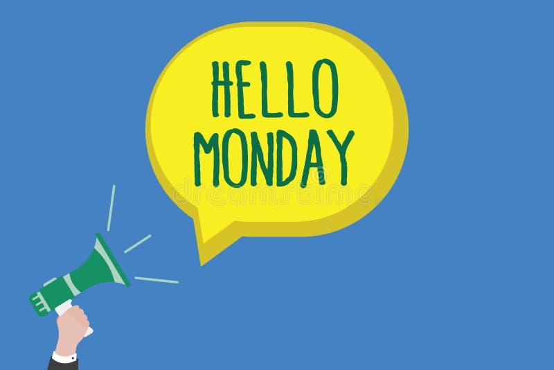Anmerkungsvertretung hallo Montag schreiben Geschäftsfoto Präsentationsgrüßende positive Mitteilung für ein neues Tagwochen-Begin vektor abbildung