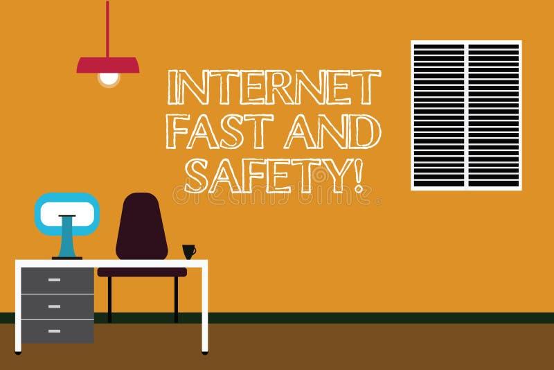 Anmerkungsvertretung Internet schreiben schnell und Sicherheit Geschäftsfoto, das Hochgeschwindigkeitsverbindungson-line-Sicherhe stock abbildung