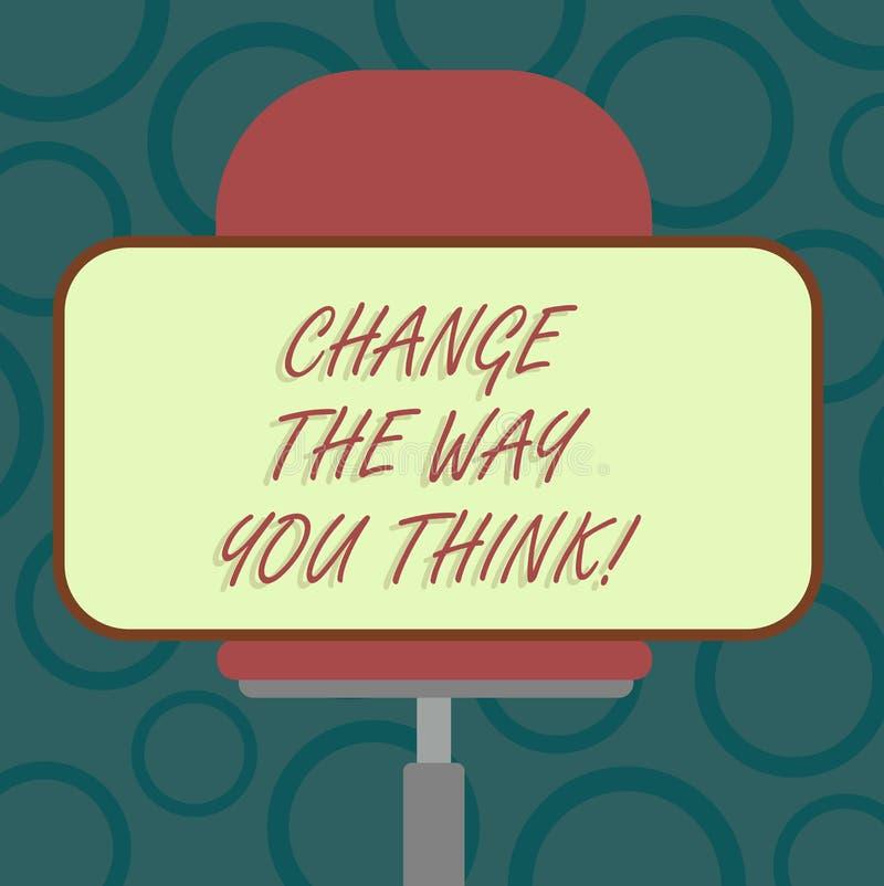 Anmerkungsvertretung schreibend, ändern Sie die Weise, die Sie denken Das Geschäftsfoto, das zur Schau stellt, Ihre Ideen ändernd lizenzfreie abbildung