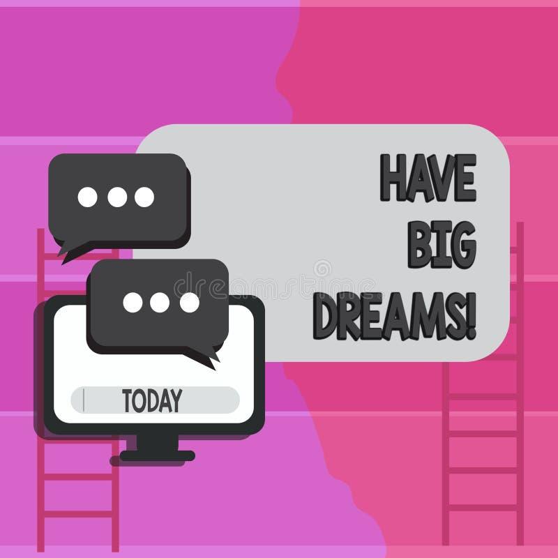 Anmerkungsvertretung schreibend, haben Sie große Träume Geschäftsfoto zur Schau stellender zukünftiger Ehrgeiz Desire Motivation  vektor abbildung