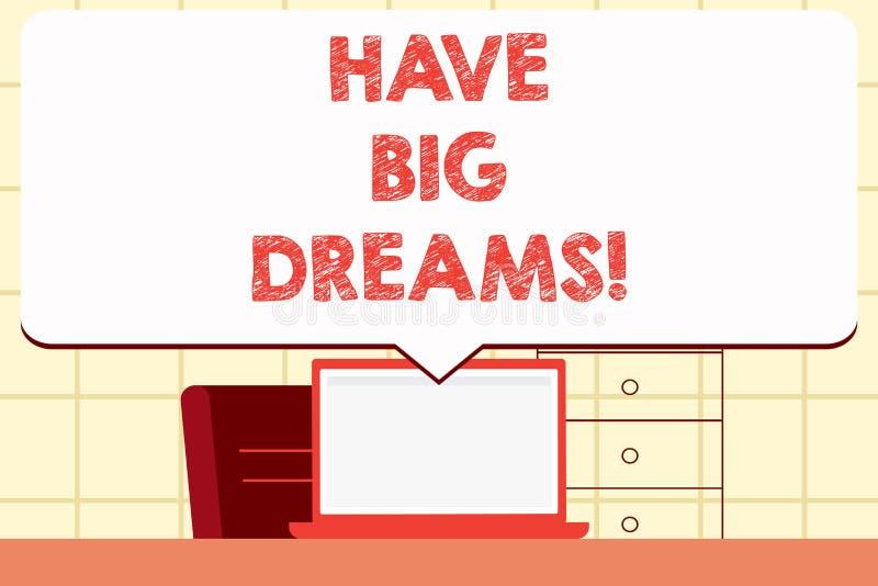 Anmerkungsvertretung schreibend, haben Sie große Träume Geschäftsfoto zur Schau stellender zukünftiger Ehrgeiz Desire Motivation  lizenzfreie abbildung