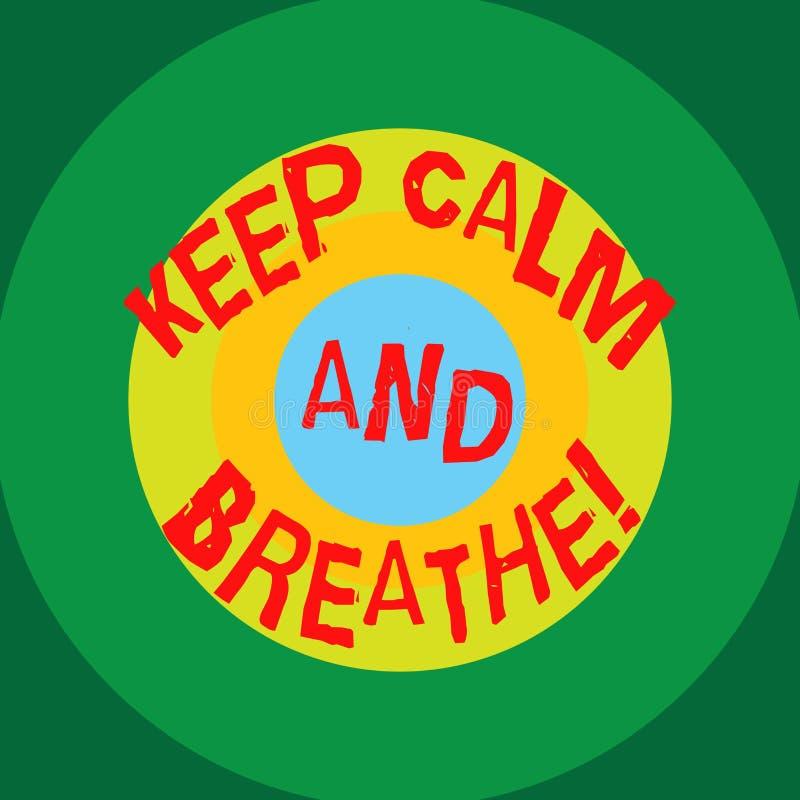 Anmerkungsvertretung schreibend, halten Sie Ruhe und atmen Sie Die Geschäftsfotopräsentation machen eine Pause, um tägliche Schwi stock abbildung