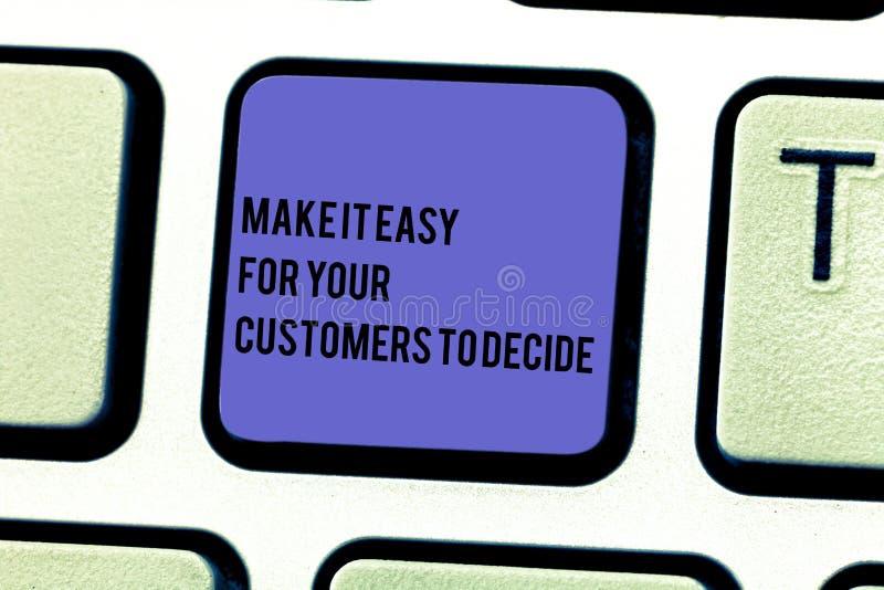 Anmerkungsvertretung schreibend, machen Sie es einfach, damit Ihre Kunden entscheiden Die Geschäftsfotopräsentation geben Kunden  stockbild