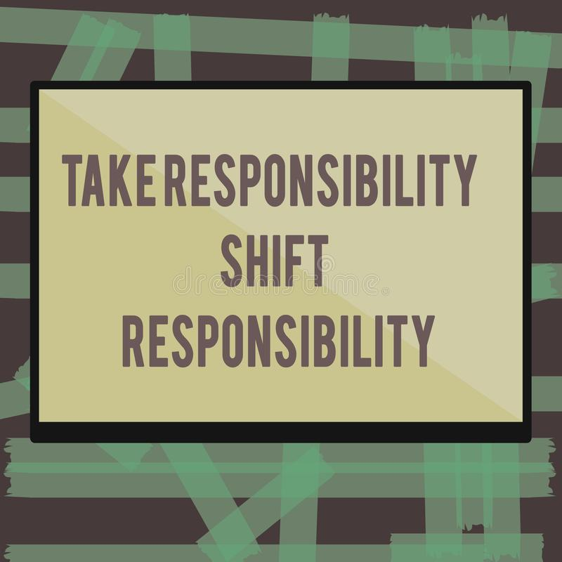 Anmerkungsvertretung schreibend, nehmen Sie Verantwortungs-Schiebeverantwortung Die Geschäftsfotopräsentation wird nehmen die Ver lizenzfreie abbildung