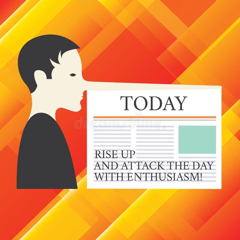 Anmerkungsvertretung schreibend, steigen Sie oben und nehmen Sie den Tag mit Begeisterung in Angriff Die Geschäftsfotopräsentatio stock abbildung