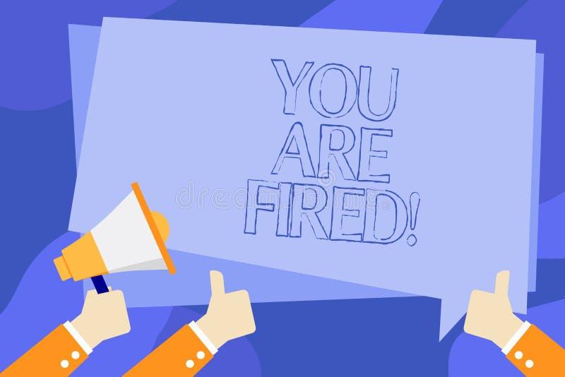 Anmerkungsvertretung Sie schreibend, werden abgefeuert Geschäftsfoto Präsentationsc$hinausgehen vom Job und arbeitsloses nicht En vektor abbildung
