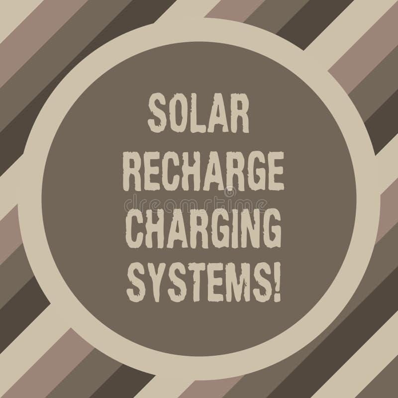 Anmerkungsvertretung Solarnachladen-Aufladungs-Systeme schreiben Geschäftsfoto, das neue innovative alternative Energie zur Schau vektor abbildung