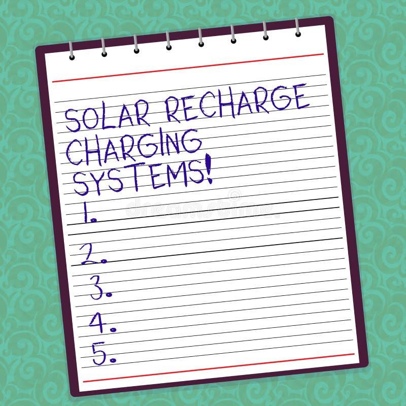 Anmerkungsvertretung Solarnachladen-Aufladungs-Systeme schreiben Geschäftsfoto, das neue innovative alternative Energie zur Schau stock abbildung