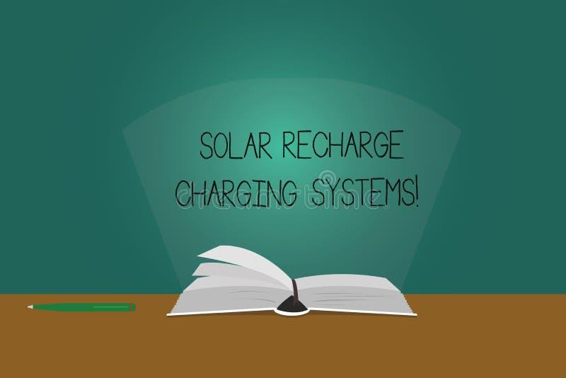 Anmerkungsvertretung Solarnachladen-Aufladungs-Systeme schreiben Geschäftsfoto, das neue innovative alternative Energiezufuhren F vektor abbildung