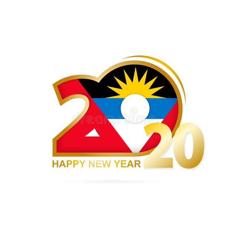 Année 2020 avec le modèle de drapeau de l'Antigua-et-Barbuda Conception d'an neuf heureux illustration de vecteur