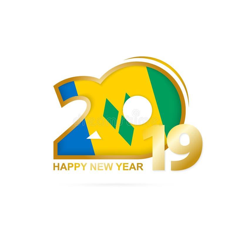Année 2019 avec le modèle de drapeau de Saint-Vincent-et-les-Grenadines Conception d'an neuf heureux illustration libre de droits