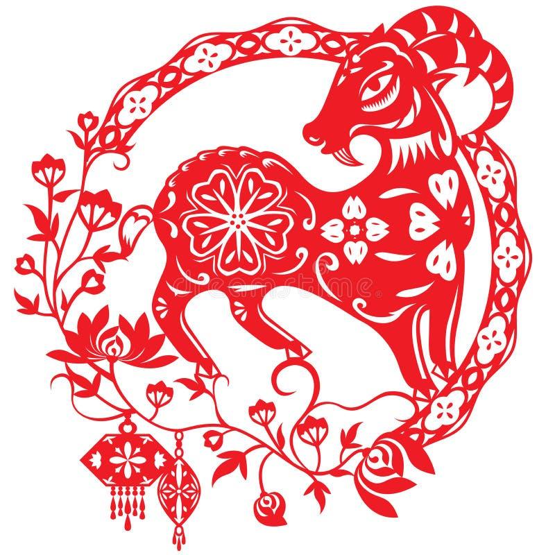 Année chinoise de Lucky Sheep Lamb illustration libre de droits