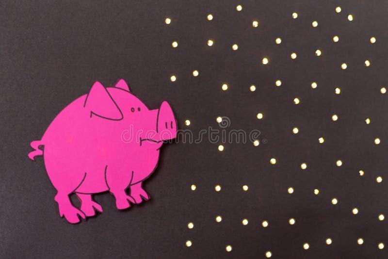 Année chinoise de signe de zodiaque de porc, porc de coupe de papier de rose, bonne année 2019 ans Fond noir illustration de vecteur