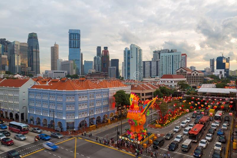 Année chinoise 2017 de Singapour Chinatown nouvelle images stock