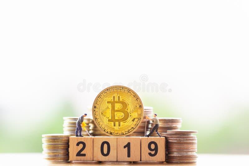 Ann?e d'or et en bois 2019 de BitcoinBTC de bloc de nombre sur le fond de nature de verdure photos stock